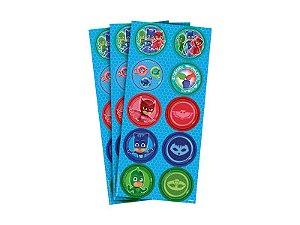Adesivo Decorativo Redondo PJ Masks - Pack 03 Unidades