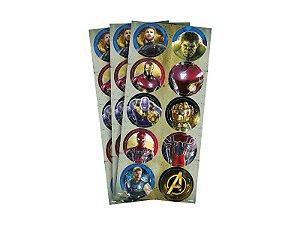 Adesivo Decorativo Redondo Vingadores 3 - Pack 03 Unidades