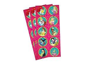 Adesivo Decorativo Redondo Princesas - Pack 03 Unidades