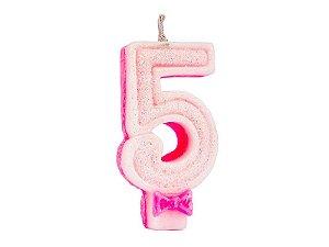 Vela Super com Glitter Rosa Número 5