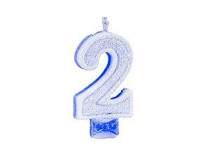 Vela Super com Glitter Azul Número 2