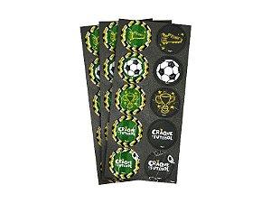 Adesivo de Papel Redondo Futebol