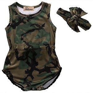 Body Camuflado Feminino - 12 a 18 meses