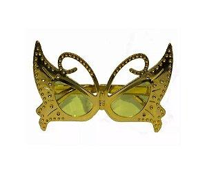 Óculos Borboleta Metalizado Dourado