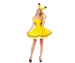 Fantasia Pikachu Feminino tamanho G - Usado