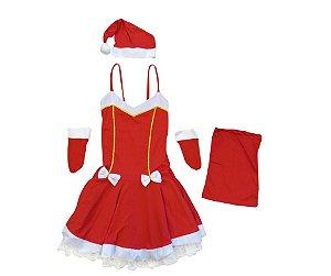 Fantasia Mamãe Noel com detalhe dourado adulto tam P - Aluguel