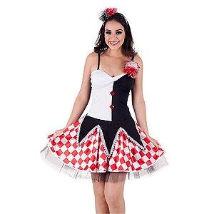 Fantasia vestido Arlekina adulto tam G - Usado