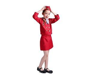 Fantasia aeromoça Vermelha infantil tam 6
