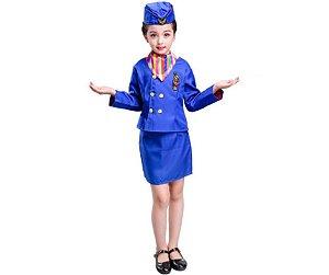 Fantasia aeromoça azul infantil tam 10
