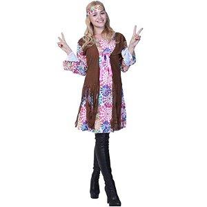 Fantasia Vestido Hippie adulto tam G- Usado