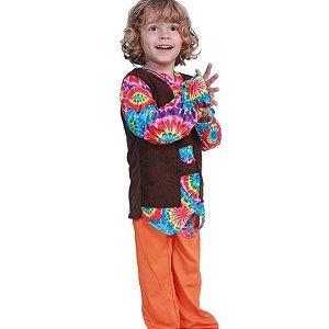 Fantasia hippie colorida unissex infantil tam 10-12 anos - aluguel