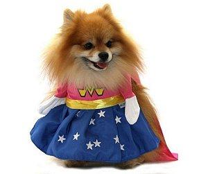 Fantasia de Super Mascote Rosa para Pet tam GG
