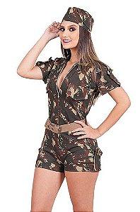 Fantasia Macacão Militar feminino adulto tam G - Usado