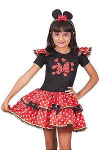 Vestido Minnie vermelho com laços inf tam 4