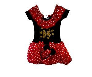 Vestido Minnie vermelho com dourado inf tam 10