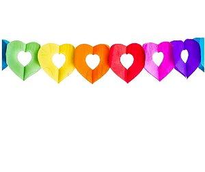Varal de papel multicor coração 3 metros