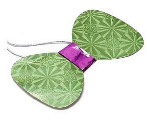 Gravata Borboleta holográfica Verde c/8 und