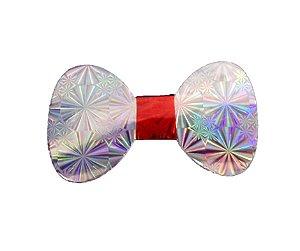 Gravata Borboleta holográfica Prata c/8 und