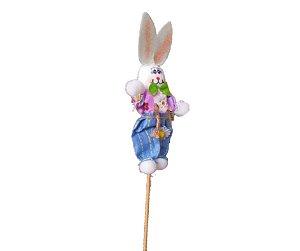 Coelho decorativo no palito Azul