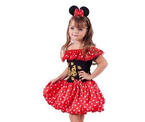 Vestido Minnie vermelho com dourado inf tam 6