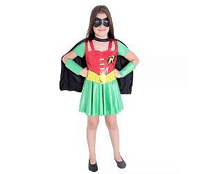 Fantasia Vestido Robin tam M 6 a 8 anos