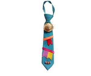 Gravata Junina Azul Claro infantil P 27 cm