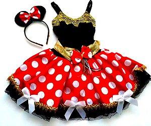 Vestido Minnie com renda infantil tam 8