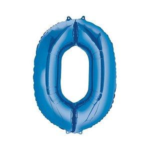 """Balão Metalizado Azul Número 0 40"""""""