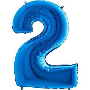 """Balão Metalizado Azul Número 2 40"""""""