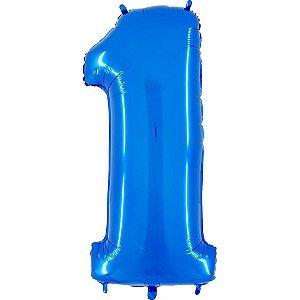 """Balão Metalizado Azul Número 1 40"""""""