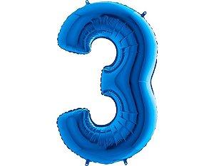 """Balão Metalizado Azul Número 3 40"""""""