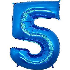 """Balão Metalizado Azul Número 5 40"""""""
