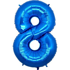 """Balão Metalizado Azul Número 8 40"""""""