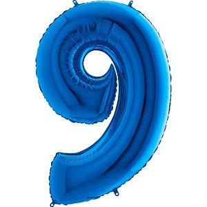 """Balão Metalizado Azul Número 9 40"""""""