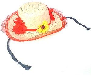 Chapéu Caipira Com Flores Vermelho