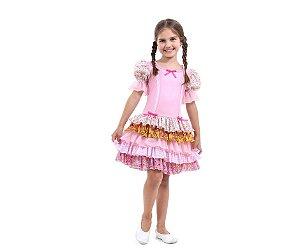 Vestido Caipira Rosa Com Babados tam G 10 a 12 anos - Aluguel