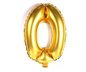"""Balão Metalizado Dourado Nº0 16"""""""