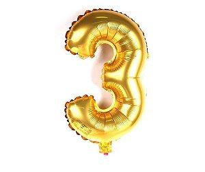 """Balão Metalizado Dourado Nº3 16"""""""