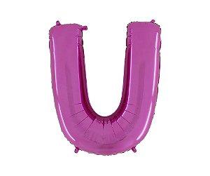 """Balão Metalizado Rosa Letra U 40"""""""