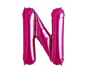 """Balão Metalizado Rosa Letra N 40"""""""