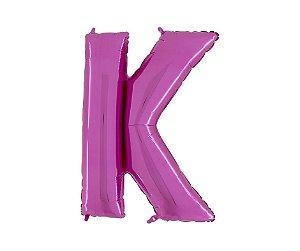 """Balão Metalizado Rosa Letra K 40"""""""