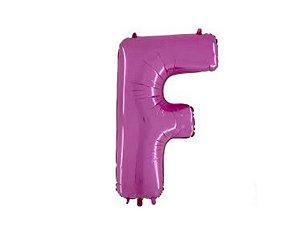 """Balão Metalizado Rosa Letra F 40"""""""