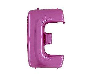 """Balão Metalizado Rosa Letra E 40"""""""