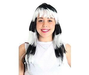 Peruca Camadas Preta e Branca