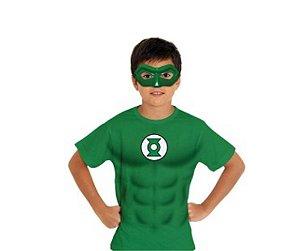Camiseta e Máscara Lanterna Verde P 3 a 4 anos