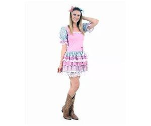 Vestido Caipira Flores adulto tam M 42 a 44 - Aluguel