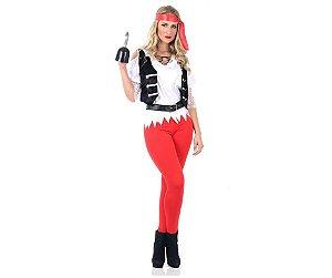 Fantasia Pirata Black Pearl Feminina tam M 42 a 44 - Aluguel