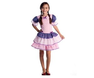 Vestido Caipira Com Babados Rosa Claro tam G 10 a 12 anos - Aluguel