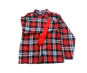 Camisa Com Gravata Vermelha masculina G 10 a 12 anos
