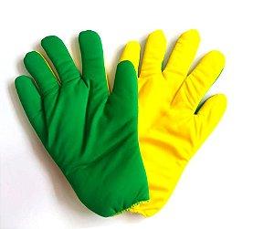 Luvas Verde e Amarelo Fofas Adulto